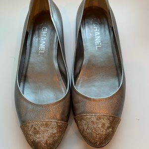 Silver and gold Chanel flats
